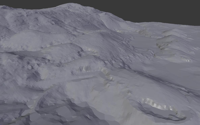 TIN generado a partir de las curvas de nivel y mostrado en Blender en Vista Sólido.