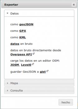 En Overpass Turbo tienes la posibilidad de exportar el resultado de tu consulta a diferentes formatos.