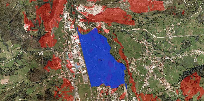 Mapa de máxima exposición visual de un polígono industrial.