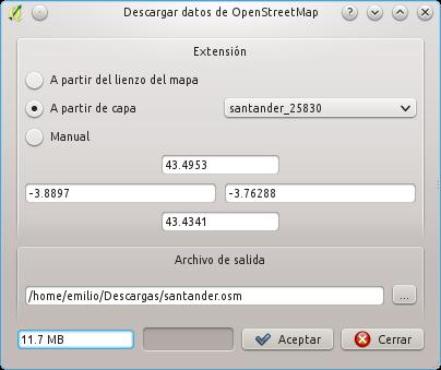 QGIS: Definiendo el bbox para la descarga de datos desde OpenStreetMap