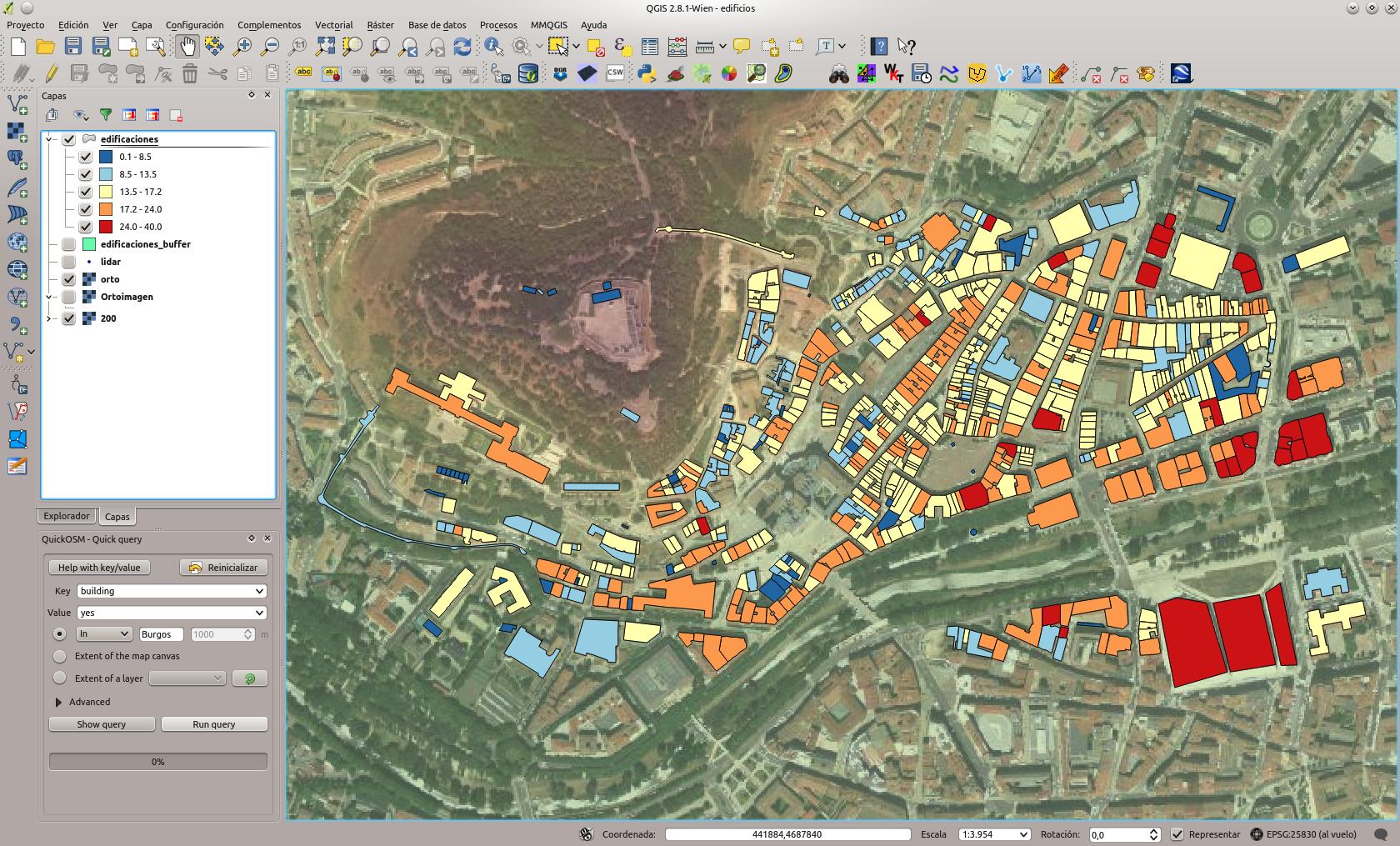 El fin es obtener un sencillo modelo urbano LoD1 a partir de datos altimétricos LiDAR.