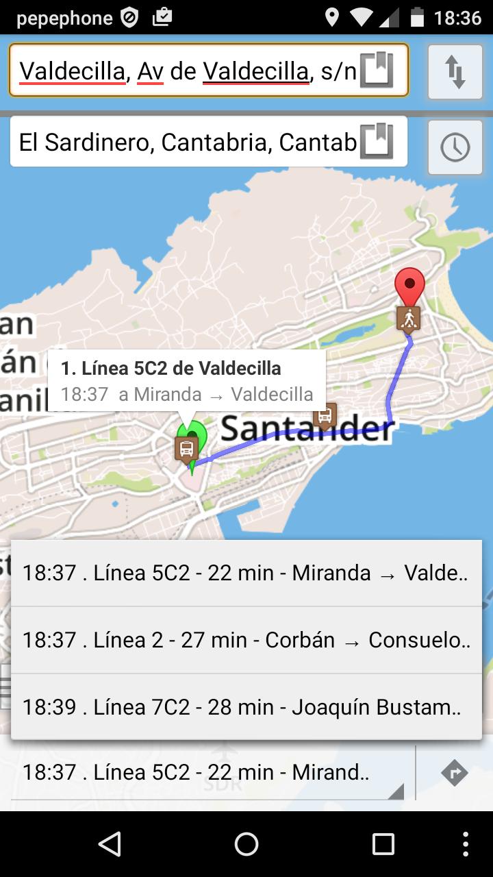 Cliente OpenTripPlanner para Android conectado al motor de enrutamiento de SantanderGo!