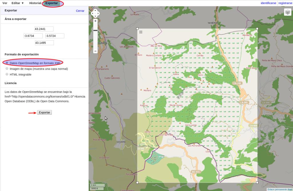 Exportación de datos desde la web de OpenStreetMap