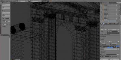 Reconstrucción 3D de un arco monumental.