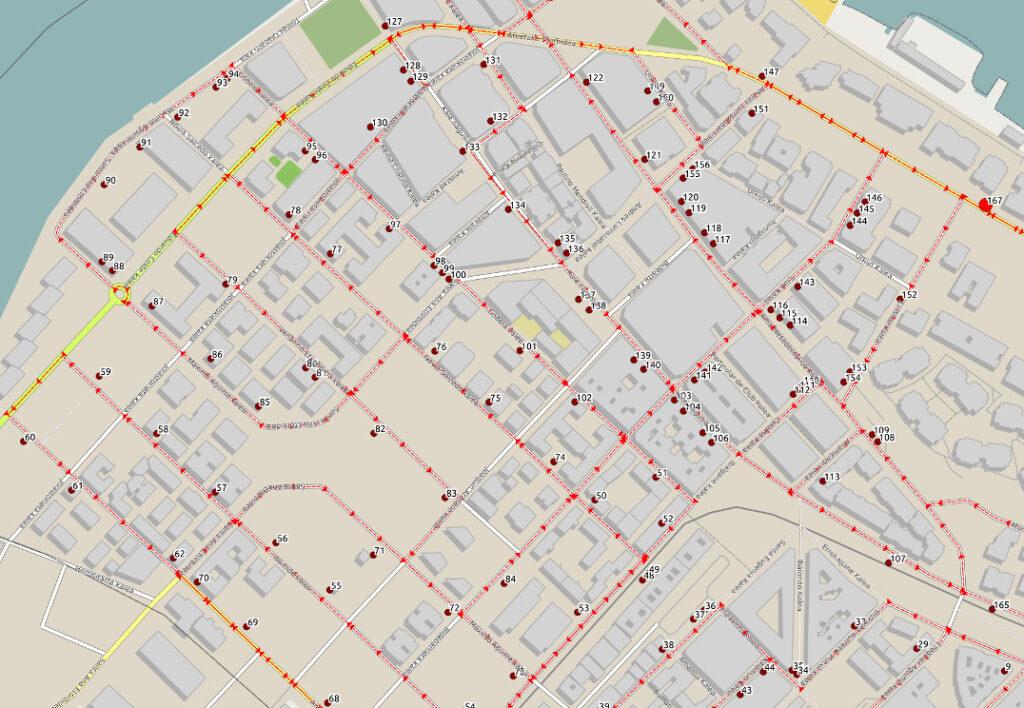 Mapa con una ruta de recogida de residuos urbanos.