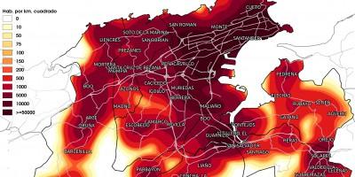 Mapa de densidades de población en el arco de la Bahía de Santander